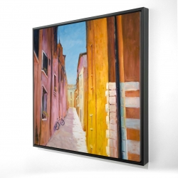 Framed 24 x 24 - 3D - Colorful houses in the streets of collioure