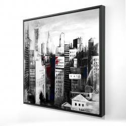 Framed 24 x 24 - 3D - White city with paint splash