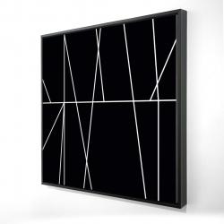 Framed 24 x 24 - 3D - White stripes on black background