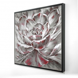 Framed 24 x 24 - 3D - Gray and pink flower