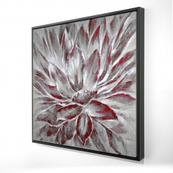 Framed 24 x 24 - 3D - Red and gray flower