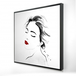 Framed 24 x 24 - 3D - Right side watercolor serenely lady portrait