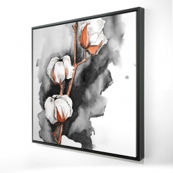 Framed 24 x 24 - 3D - Cotton flowers on a black background