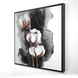 Framed 24 x 24 - 3D - Watercolor cotton flowers