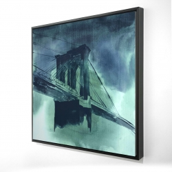 Framed 24 x 24 - 3D - Abstract view of brooklyn bridge