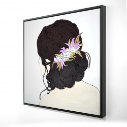 Framed 24 x 24 - 3D - Woman from behind with pink flowers