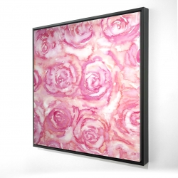 Framed 24 x 24 - 3D - Bouquet of roses in watercolor