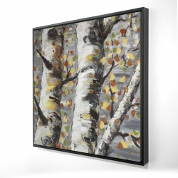 Framed 24 x 24 - 3D - Budding white birches 1