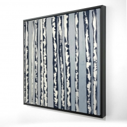 Framed 24 x 24 - 3D - Birches on a blue background