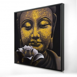 Framed 24 x 24 - 3D - The eternal smile of buddha and his lotus