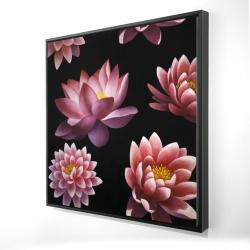 Framed 24 x 24 - 3D - Lotus flower pattern