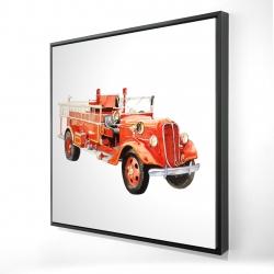 Framed 24 x 24 - 3D - Vintage fire truck