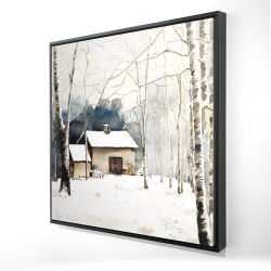 Framed 24 x 24 - 3D - Small winter barn