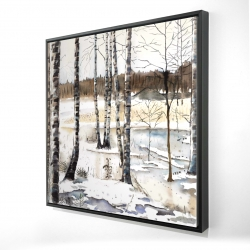 Framed 24 x 24 - 3D - Winter swamp