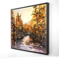 Framed 24 x 24 - 3D - Merced river