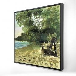 Framed 24 x 24 - 3D - Day at the lake