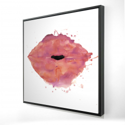 Framed 24 x 24 - 3D - Watercolor pink lipstick