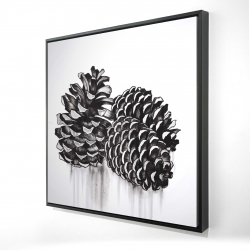 Framed 24 x 24 - 3D - Three small pine cones