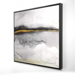 Framed 24 x 24 - 3D - Gold stripe abstract