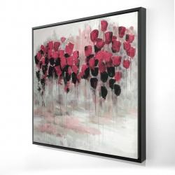 Champ de fleurs roses et noir
