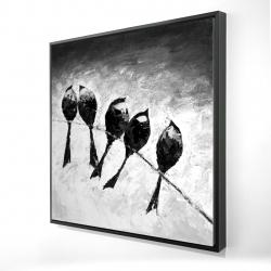Framed 24 x 24 - 3D - Five birds perched