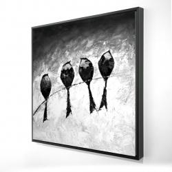 Framed 24 x 24 - 3D - Four birds perched
