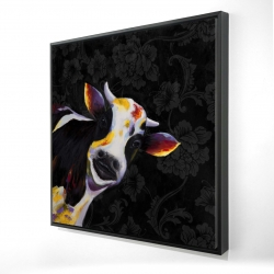 Framed 24 x 24 - 3D - Funny cow