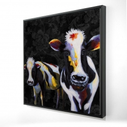 Framed 24 x 24 - 3D - Two funny cows victorian