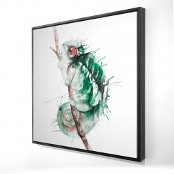 Framed 24 x 24 - 3D - Watercolor chameleon