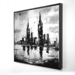 Framed 24 x 24 - 3D - Mono urban cityscape