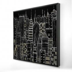 Framed 24 x 24 - 3D - Illustrative dark city
