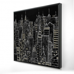 Framed 24 x 24 - 3D - Illustrative city towers