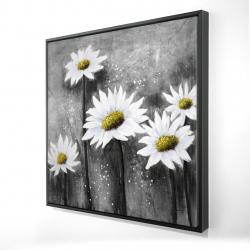 Framed 24 x 24 - 3D - Daisies