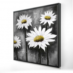 Framed 24 x 24 - 3D - Daisies at sun