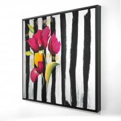 Framed 24 x 24 - 3D - Pink flowers on black stripes