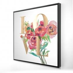 Framed 24 x 24 - 3D - Love gold