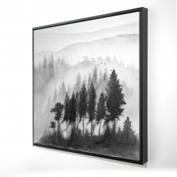 Framed 24 x 24 - 3D - Mono mountains landscape in watercolor