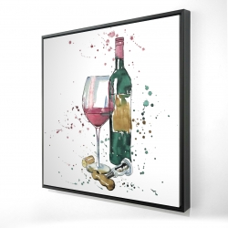 Framed 24 x 24 - 3D - Bottle of red wine