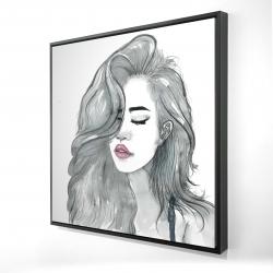 Framed 24 x 24 - 3D - Beautiful female hair