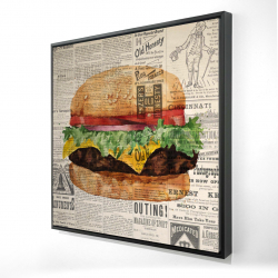 Framed 24 x 24 - 3D - Vintage style all dressed cheeseburger