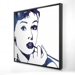 Framed 24 x 24 - 3D - Audrey hepburn: cigarillo
