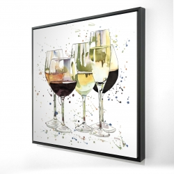 Framed 24 x 24 - 3D - Beautiful wine glasses