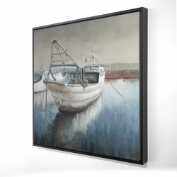 Framed 36 x 36 - 3D - Fishing boat desatured