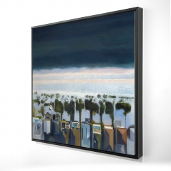 Framed 24 x 24 - 3D - Bird's eye view of beach