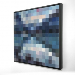 Framed 24 x 24 - 3D - Pixelated mountainous landscape