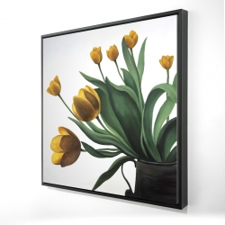 Framed 24 x 24 - 3D - Yellow tulips