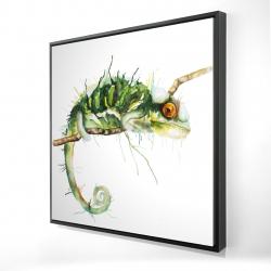 Framed 24 x 24 - 3D - Chameleon on the lookout