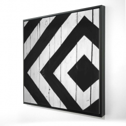 Framed 24 x 24 - 3D - Rhombus on wood