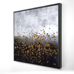 Framed 24 x 24 - 3D - Gold paint splash on gray background