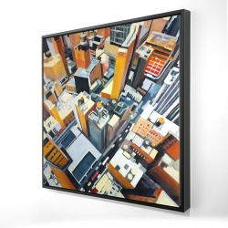 Framed 24 x 24 - 3D - High top view of buildings in new york